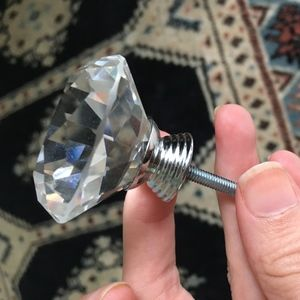 Diamond Cut Crystal multifaceted drawer knob NEW